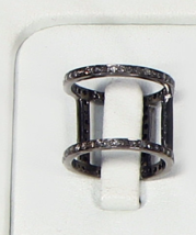 Victorian Antique Style Ring Oxidized in .925 Sterling Silver with Pave ... - $220.00+