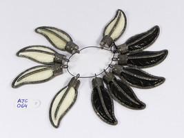 FeatherDesign WhiteBlackBonePendant 2.3inchlong .925SterlingSilver & Pav... - $150.00