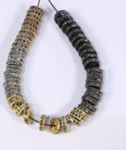 Handmade Oxidized Rondell Spacer 8mm Bead .925SterlingSilver with Pave D... - $23.00
