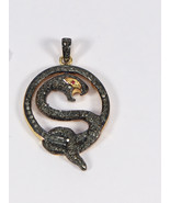 Antique Style Snake Pendant Oxidized.925 SterlingSilver with Pave Diamon... - $125.00