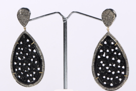 Drop Carved Earrings 14ktGold .925SterlingSilver with Black Onyx & Pave ... - $390.00