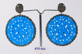 Round Carved Earrings 14ktGold .925SterlingSilver with Turquoise & Pave ... - $585.00