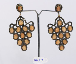 Earrings Grape design .925 Sterling Silver with Pave Diamonds & Orange M... - $657.00