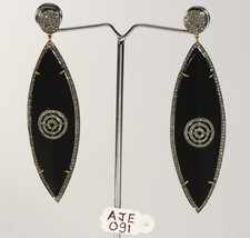 Victorian Earrings .925 Sterling Silver with Pave Diamonds & Black color... - $384.00
