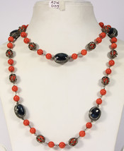 20inch Necklace .925SterlingSilver Wirewrapped in Diamond Coral & Sapphi... - $779.40