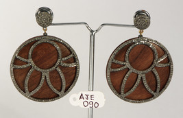 Antique Style Round Earrings .925 Sterling Silver with Pave Diamonds & W... - $405.00