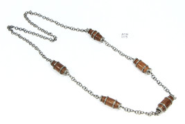 16 inch long Necklace Chain .925SterlingSilver with Pave Diamonds & Wood... - $483.00