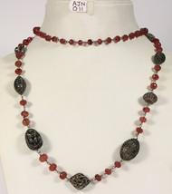 16inch Necklace.925SterlingSilver Wirewrapped in PaveDiamond & PinkSapph... - $691.20
