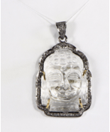Handmade Buddha design Pendant  .925Sterling Silver with Carved Crystal ... - $177.00