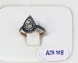 Ring .925 Sterling Silver with Drop Shape Rosecut   and Pave Diamonds - $150.00