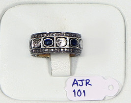 EternityBand Ring .925SterlingSilver with Pave and RosecutDiamond & Blue... - $384.00