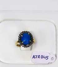 Victorian Ring .925 SterlingSilver Oxidized with Turquoise & Pave Diamond - $90.00