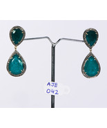 Earrings Oxidized 14 KT Gold .925 Sterling Silver with Emerald and Pave ... - $330.00