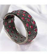 Bangle Oval Cuff .925 Sterling Silver with 11 lines of Pave Diamond and Ruby - £1,791.94 GBP