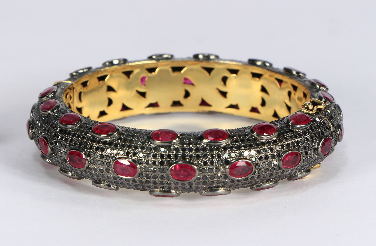 Round Bangle Cuff .925 SterlingSilver with12 lines of Black Pave Diamonds & Ruby