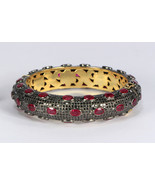 Round Bangle Cuff .925 SterlingSilver with12 lines of Black Pave Diamonds & Ruby - £2,069.76 GBP