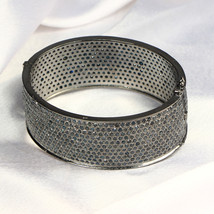 Oval Women Bangle Cuff .925 Sterling Silver with 11-lines of Blue Diamond - $1,979.40