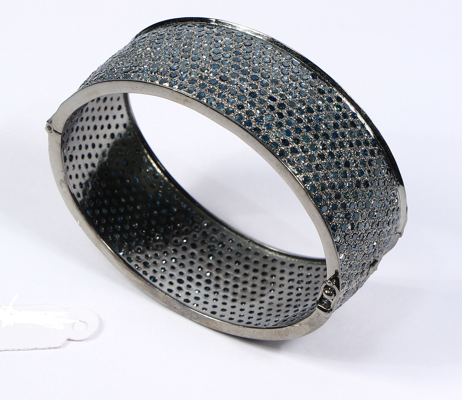 Oval Women Bangle Cuff .925 Sterling Silver with 11-lines of Blue Diamond