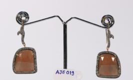 Victorian Hook Earrings 14ktGold .925SterlingSilver Pave Diamonds & Sapphir - $225.00