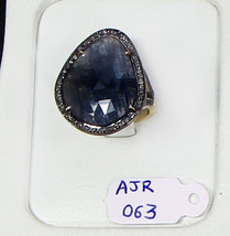 Gemstone Ring Oxidized.925 Sterling Silver with Sapphire & Pave Diamonds - $126.00