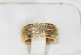 Gold Plated Box design Women Band Ring .925 Sterling Silver with Pave Di... - $125.00