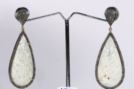 Carved Earrings 14ktGold .925SterlingSilver with Pave Diamonds & Mother ... - $390.00