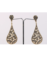 Victorian 2-tone Women Long Earrings .925 Sterling Silver with Pave Diam... - $390.00