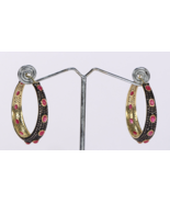 Stylish Hoops Oxidized Earrings .925Sterling Silver with Pave Diamonds &... - $582.00