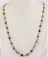 28 inch Long Necklace Chain .925SterlingSilver with Blue Diamond Slices - $885.00