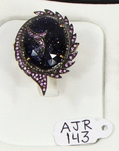 Ring .925 Sterling Silver with Diamonds & Sunstar Gemstoneand Pink Sapph... - $210.00