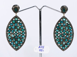 Victorian Earrings 14kt Gold .925 Sterling Silver with Pave Diamonds & E... - $801.00
