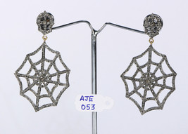 Victorian SpiderWeb Design Earrings Oxidized.925SterlingSilver with Pave... - $483.00