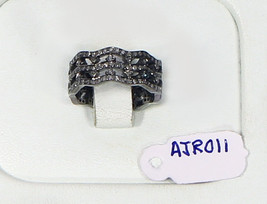 Antique Style 3-row Wavy Band Ring .925 Sterling Silver with Pave Diamonds - $144.00