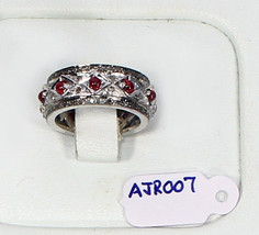 AntiqueStyle Gemstone Band Ring .925 Sterling Silver with Pave Diamonds ... - $156.00