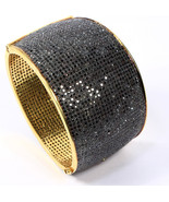 Oval Broad Women Bangle Cuff .925 Sterling Silver with 25 lines of Black Diamond - £2,185.51 GBP