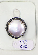 Gemstone Ring Oxidized.925 Sterling Silver with Pearl and Pave Diamonds - $123.00