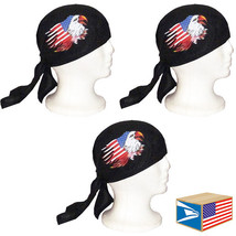 3 LOT SKULL CAP HAT USA Torn Flag American Bald Eagle DU DO DOO RAG NEW ... - $9.89