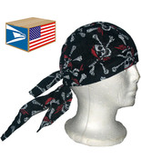 12 LOT SKULL CAP HAT Pirate Skull Crossbones DU DO DOO RAG NEW WHOLESALE... - $221.75