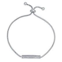Bling Jewelry Bolo Style Flat CZ Bar Bracelet for Women Cubic Zirconia B... - $19.54