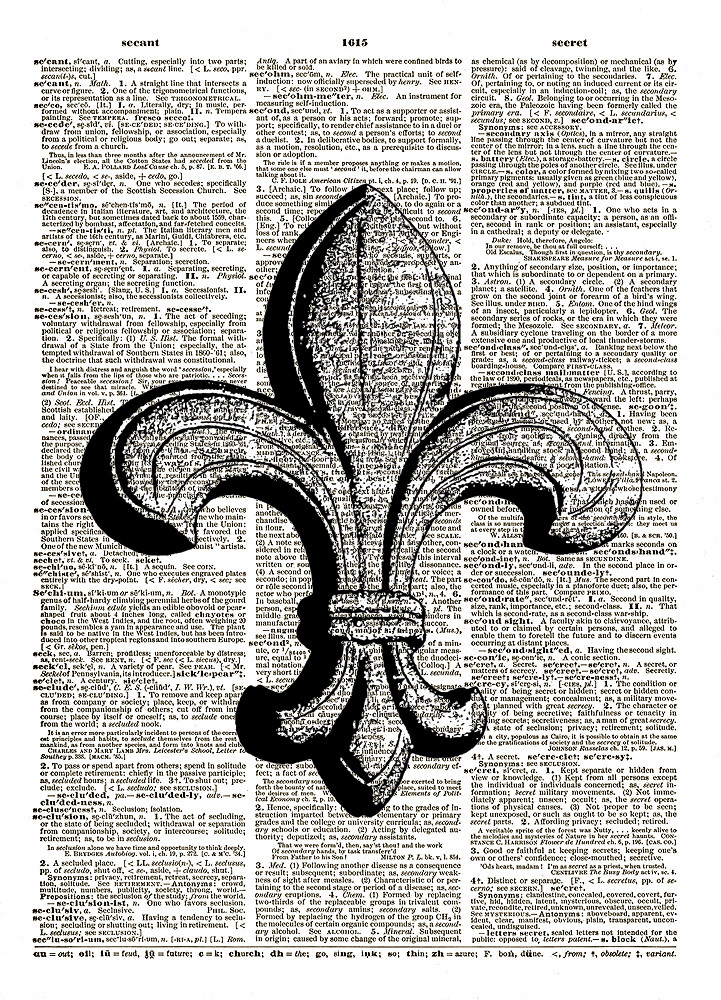 French FLEUR DE LIS Symbol Dictionary Page Art Print No. 0081