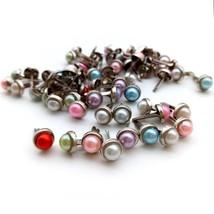 Brads 50PCS Round Pearl Metal Scrapbooking Embellishment Decor DIY Paper... - $8.89