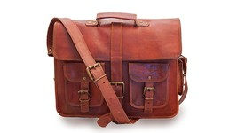New Brown Long Loopy Soft Leather Office Shoulder Laptop Briefcase Unisex Bag - $56.95