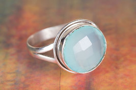 Charming Faceted Aqua Chalcedony Gemstone Silver Ring All size BJR-532-A... - $11.99+