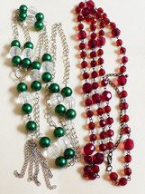 Lot of 2 Silver tone green pearl faux clear red beads long link necklaces - $20.79