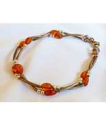 """Genuine Honey color Amber Stone beads Sterling Silver 925 7.75""""L link  B... - $74.25"""