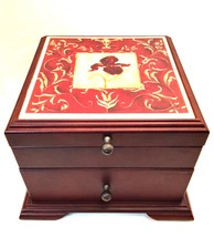 Jewelry Box Laurel Lehman Iris Tile Top Drawer Black Felt Lined 7 inches... - €43,86 EUR