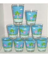 Pink Flamingo Blue Acrylic Glasses Barware Drinking Florida Outdoor Lot ... - $69.95