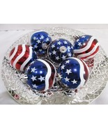 """Patriotic 4th of July Red White Blue Shatterproof Ornaments 3.5"""" Set Of 6 - $22.99"""