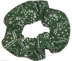 Hunter Green Bandana Hair Scrunchie Scrunchies by Sherry Ponytail Holder Cotton - $6.99