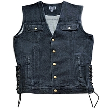 Unisex Black Denim Motorcycle Vest, Motorcycle Jacket, Adjustable Laced ... - $39.95
